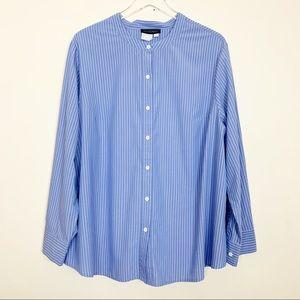 Ulla Popken Collarless Pinstripe Button Down Shirt
